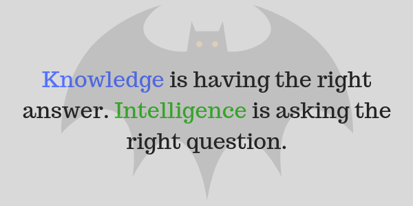 "this shows a picture of a bat in the background with the anon quote ""knowledge is having the right answer. Intelligence is asking the right question."""