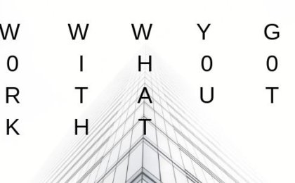 "a picture showing the top of a tall building take from the ground up with the words ""Work with what you got"" emblazoned across the sky"